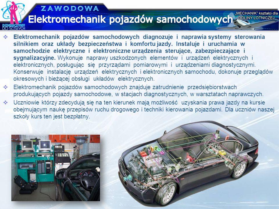 Elektromechanik pojazdów samochodowych diagnozuje i naprawia systemy sterowania silnikiem oraz układy bezpieczeństwa i komfortu jazdy. Instaluje i uru
