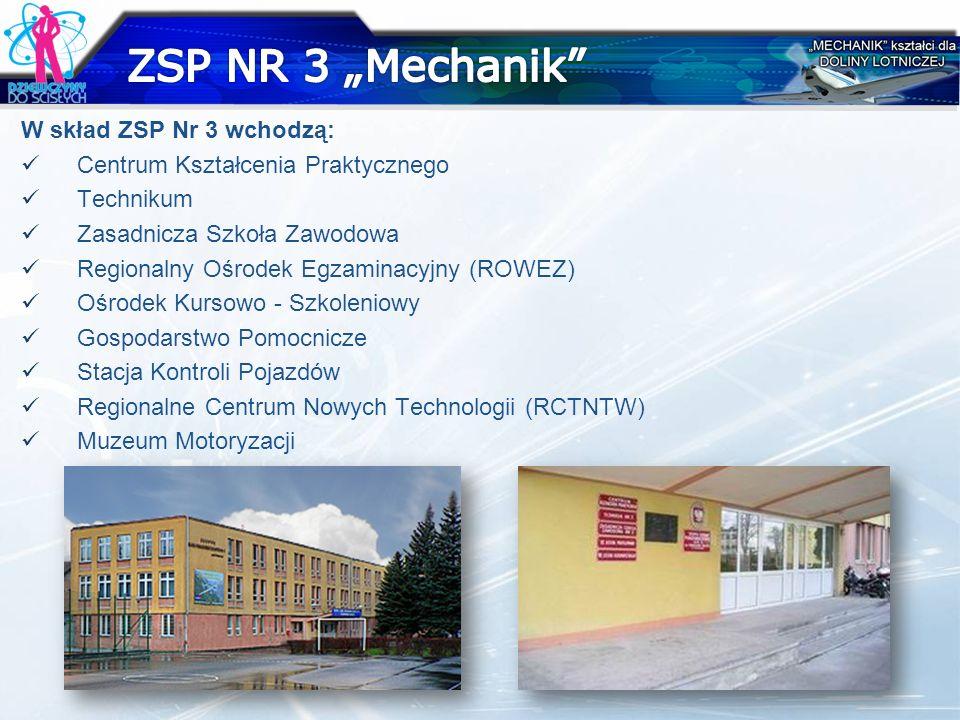 W skład ZSP Nr 3 wchodzą: Centrum Kształcenia Praktycznego Technikum Zasadnicza Szkoła Zawodowa Regionalny Ośrodek Egzaminacyjny (ROWEZ) Ośrodek Kurso