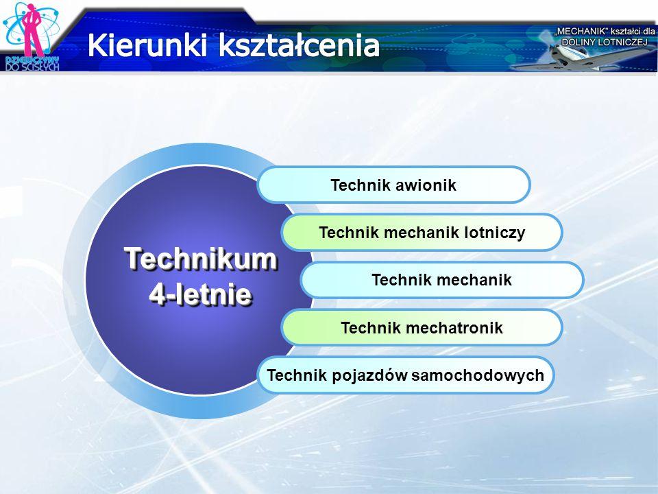 Technikum4-letnieTechnikum4-letnie Technik awionik Technik mechanik lotniczy Technik mechanik Technik mechatronik Technik pojazdów samochodowych
