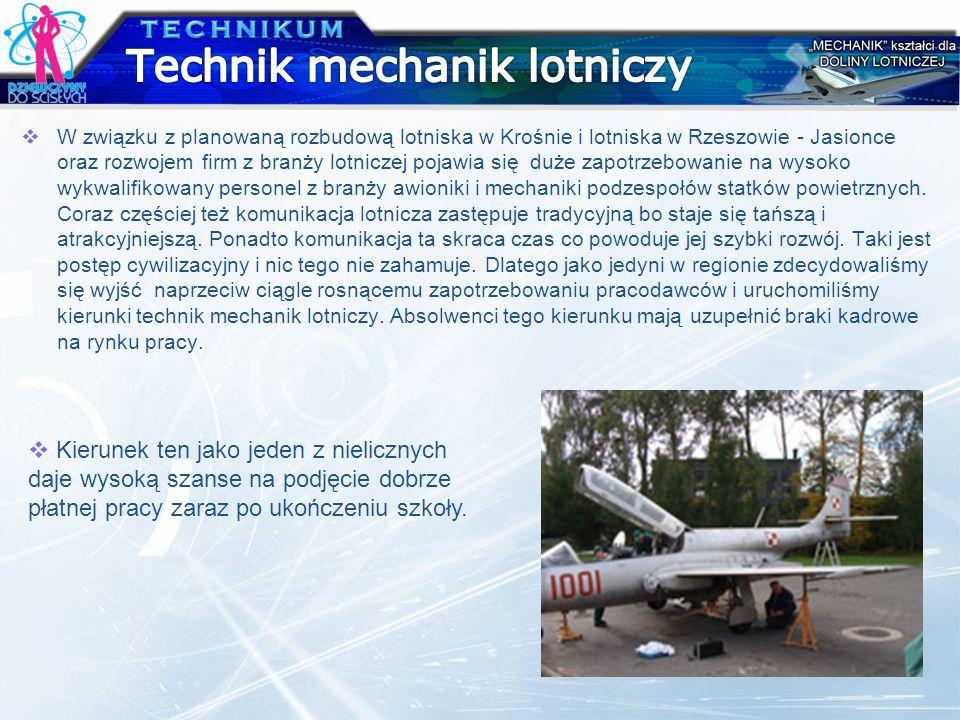 W związku z planowaną rozbudową lotniska w Krośnie i lotniska w Rzeszowie - Jasionce oraz rozwojem firm z branży lotniczej pojawia się duże zapotrzebo