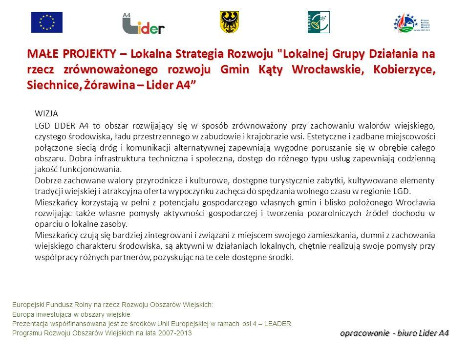 opracowanie - biuro Lider A4 Europejski Fundusz Rolny na rzecz Rozwoju Obszarów Wiejskich: Europa inwestująca w obszary wiejskie Prezentacja współfinansowana jest ze środków Unii Europejskiej w ramach osi 4 – LEADER Programu Rozwoju Obszarów Wiejskich na lata 2007-2013 MAŁE PROJEKTY – Lokalna Strategia Rozwoju Lokalnej Grupy Działania na rzecz zrównoważonego rozwoju Gmin Kąty Wrocławskie, Kobierzyce, Siechnice, Żórawina – Lider A4 WIZJA LGD LIDER A4 to obszar rozwijający się w sposób zrównoważony przy zachowaniu walorów wiejskiego, czystego środowiska, ładu przestrzennego w zabudowie i krajobrazie wsi.