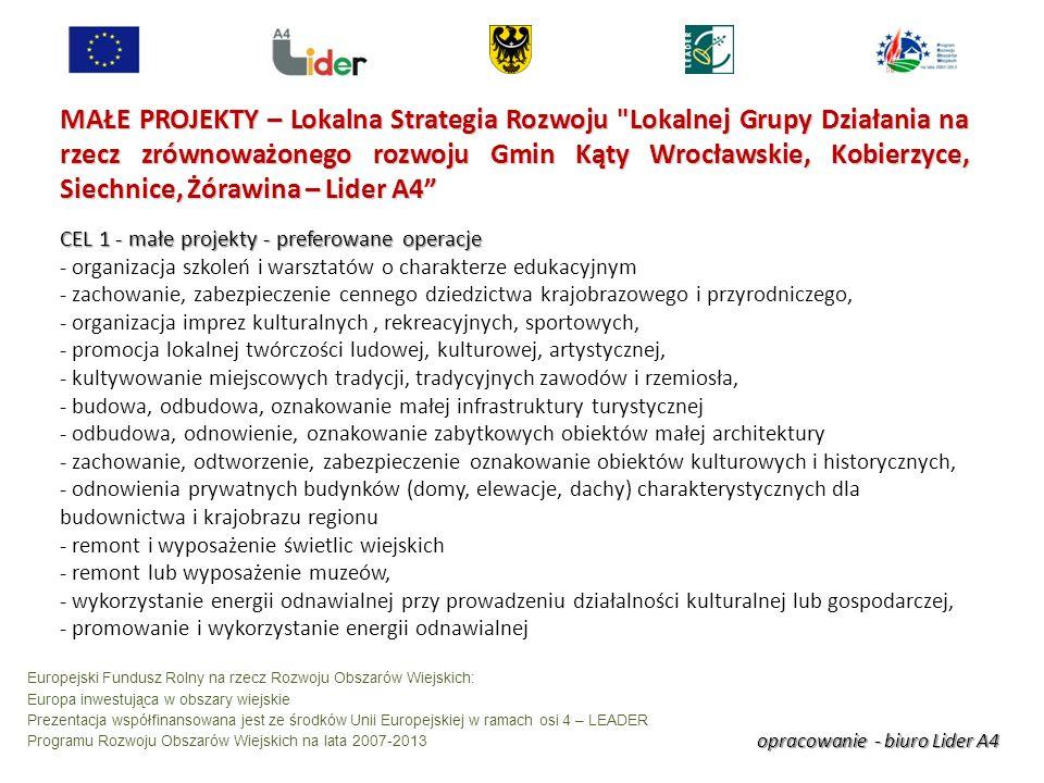 opracowanie - biuro Lider A4 Europejski Fundusz Rolny na rzecz Rozwoju Obszarów Wiejskich: Europa inwestująca w obszary wiejskie Prezentacja współfinansowana jest ze środków Unii Europejskiej w ramach osi 4 – LEADER Programu Rozwoju Obszarów Wiejskich na lata 2007-2013 MAŁE PROJEKTY – Lokalna Strategia Rozwoju Lokalnej Grupy Działania na rzecz zrównoważonego rozwoju Gmin Kąty Wrocławskie, Kobierzyce, Siechnice, Żórawina – Lider A4 CEL 1 - małe projekty - preferowane operacje - organizacja szkoleń i warsztatów o charakterze edukacyjnym - zachowanie, zabezpieczenie cennego dziedzictwa krajobrazowego i przyrodniczego, - organizacja imprez kulturalnych, rekreacyjnych, sportowych, - promocja lokalnej twórczości ludowej, kulturowej, artystycznej, - kultywowanie miejscowych tradycji, tradycyjnych zawodów i rzemiosła, - budowa, odbudowa, oznakowanie małej infrastruktury turystycznej - odbudowa, odnowienie, oznakowanie zabytkowych obiektów małej architektury - zachowanie, odtworzenie, zabezpieczenie oznakowanie obiektów kulturowych i historycznych, - odnowienia prywatnych budynków (domy, elewacje, dachy) charakterystycznych dla budownictwa i krajobrazu regionu - remont i wyposażenie świetlic wiejskich - remont lub wyposażenie muzeów, - wykorzystanie energii odnawialnej przy prowadzeniu działalności kulturalnej lub gospodarczej, - promowanie i wykorzystanie energii odnawialnej