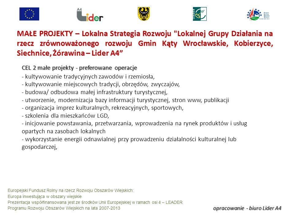 opracowanie - biuro Lider A4 Europejski Fundusz Rolny na rzecz Rozwoju Obszarów Wiejskich: Europa inwestująca w obszary wiejskie Prezentacja współfinansowana jest ze środków Unii Europejskiej w ramach osi 4 – LEADER Programu Rozwoju Obszarów Wiejskich na lata 2007-2013 MAŁE PROJEKTY – Lokalna Strategia Rozwoju Lokalnej Grupy Działania na rzecz zrównoważonego rozwoju Gmin Kąty Wrocławskie, Kobierzyce, Siechnice, Żórawina – Lider A4 CEL 2 małe projekty - preferowane operacje - kultywowanie tradycyjnych zawodów i rzemiosła, - kultywowanie miejscowych tradycji, obrzędów, zwyczajów, - budowa/ odbudowa małej infrastruktury turystycznej, - utworzenie, modernizacja bazy informacji turystycznej, stron www, publikacji - organizacja imprez kulturalnych, rekreacyjnych, sportowych, - szkolenia dla mieszkańców LGD, - inicjowanie powstawania, przetwarzania, wprowadzenia na rynek produktów i usług opartych na zasobach lokalnych - wykorzystanie energii odnawialnej przy prowadzeniu działalności kulturalnej lub gospodarczej,
