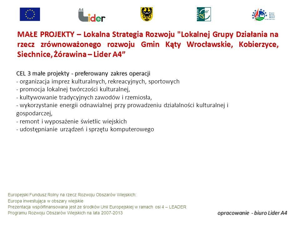 opracowanie - biuro Lider A4 Europejski Fundusz Rolny na rzecz Rozwoju Obszarów Wiejskich: Europa inwestująca w obszary wiejskie Prezentacja współfinansowana jest ze środków Unii Europejskiej w ramach osi 4 – LEADER Programu Rozwoju Obszarów Wiejskich na lata 2007-2013 MAŁE PROJEKTY – Lokalna Strategia Rozwoju Lokalnej Grupy Działania na rzecz zrównoważonego rozwoju Gmin Kąty Wrocławskie, Kobierzyce, Siechnice, Żórawina – Lider A4 CEL 3 małe projekty - preferowany zakres operacji - organizacja imprez kulturalnych, rekreacyjnych, sportowych - promocja lokalnej twórczości kulturalnej, - kultywowanie tradycyjnych zawodów i rzemiosła, - wykorzystanie energii odnawialnej przy prowadzeniu działalności kulturalnej i gospodarczej, - remont i wyposażenie świetlic wiejskich - udostępnianie urządzeń i sprzętu komputerowego