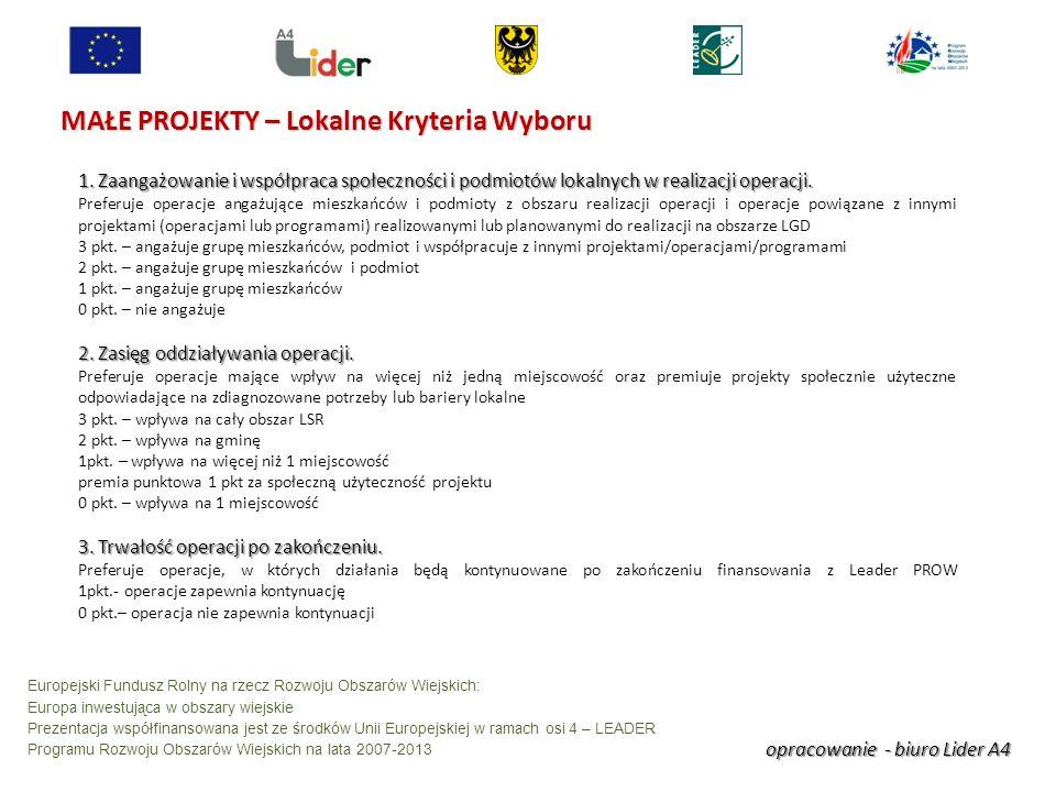 opracowanie - biuro Lider A4 Europejski Fundusz Rolny na rzecz Rozwoju Obszarów Wiejskich: Europa inwestująca w obszary wiejskie Prezentacja współfinansowana jest ze środków Unii Europejskiej w ramach osi 4 – LEADER Programu Rozwoju Obszarów Wiejskich na lata 2007-2013 MAŁE PROJEKTY – Lokalne Kryteria Wyboru 1.
