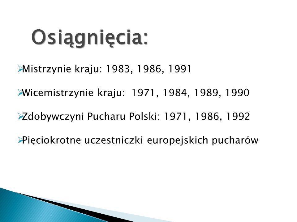 Osiągnięcia: Mistrzynie kraju: 1983, 1986, 1991 Wicemistrzynie kraju: 1971, 1984, 1989, 1990 Zdobywczyni Pucharu Polski: 1971, 1986, 1992 Pięciokrotne