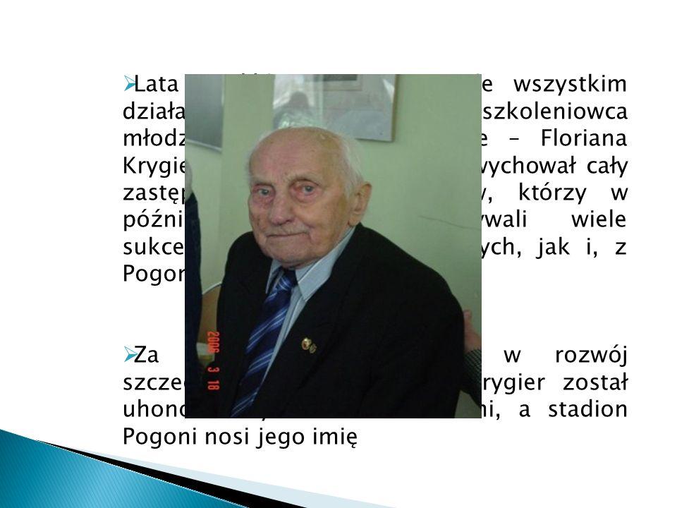 Lata sześćdziesiąte to przede wszystkim działalnośc wybitnego szkoleniowca młodzieży w portowym klubie – Floriana Krygiera(na zdj. Obok), który wychow