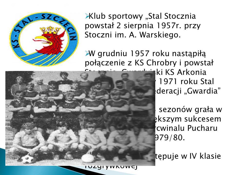 Klub sportowy Stal Stocznia powstał 2 sierpnia 1957r. przy Stoczni im. A. Warskiego. W grudniu 1957 roku nastąpiłą połączenie z KS Chrobry i powstał S