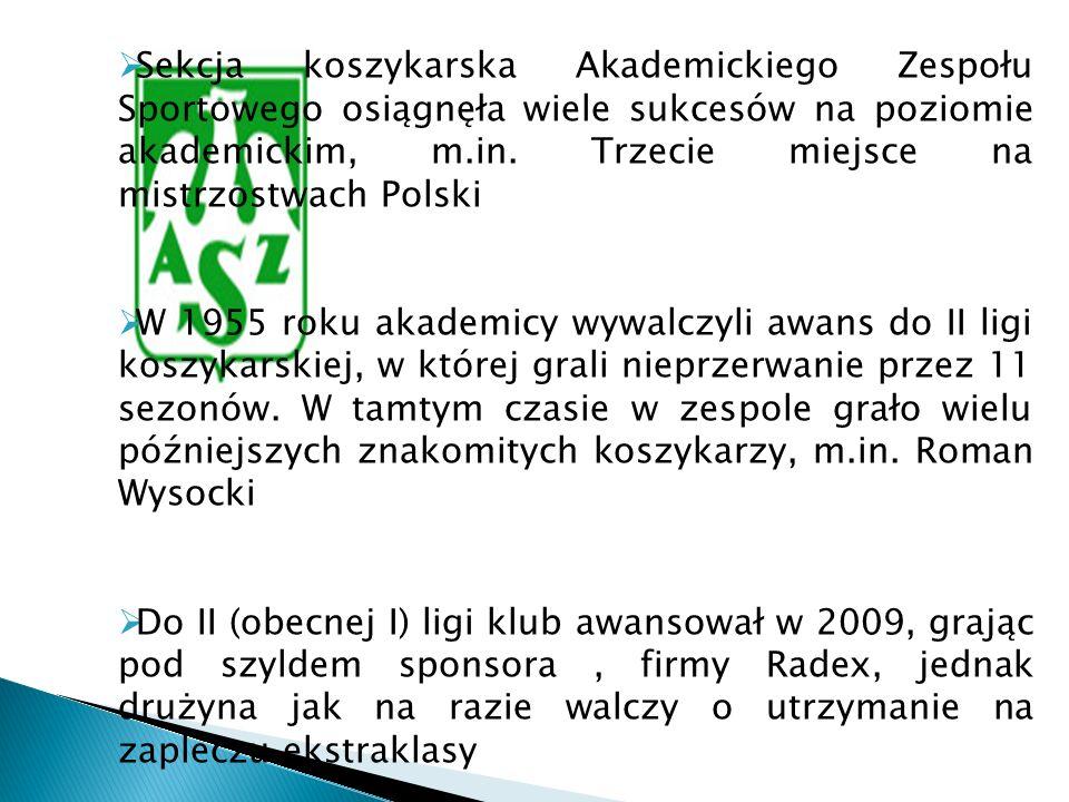 Sekcja koszykarska Akademickiego Zespołu Sportowego osiągnęła wiele sukcesów na poziomie akademickim, m.in. Trzecie miejsce na mistrzostwach Polski W