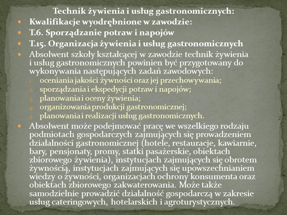 Technik żywienia i usług gastronomicznych: Kwalifikacje wyodrębnione w zawodzie: T.6.