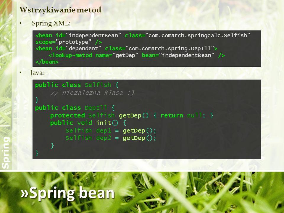 »Spring bean Wstrzykiwanie metod Spring XML: Java: public class Selfish { // niezalezna klasa :) } public class DepIll { protected Selfish getDep() {