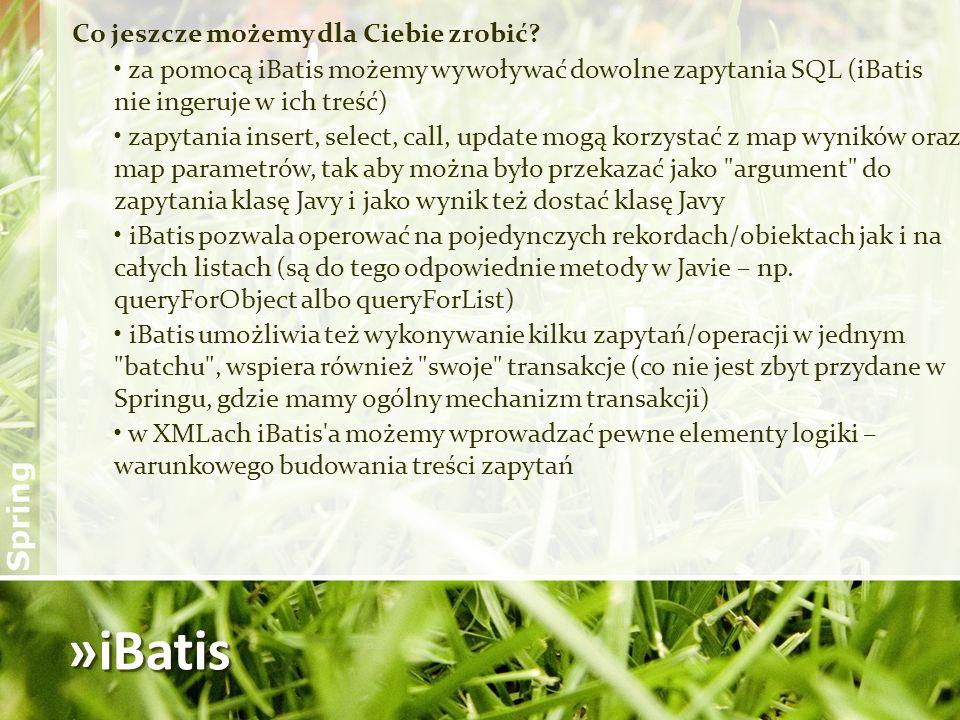 »iBatis Co jeszcze możemy dla Ciebie zrobić? za pomocą iBatis możemy wywoływać dowolne zapytania SQL (iBatis nie ingeruje w ich treść) zapytania inser