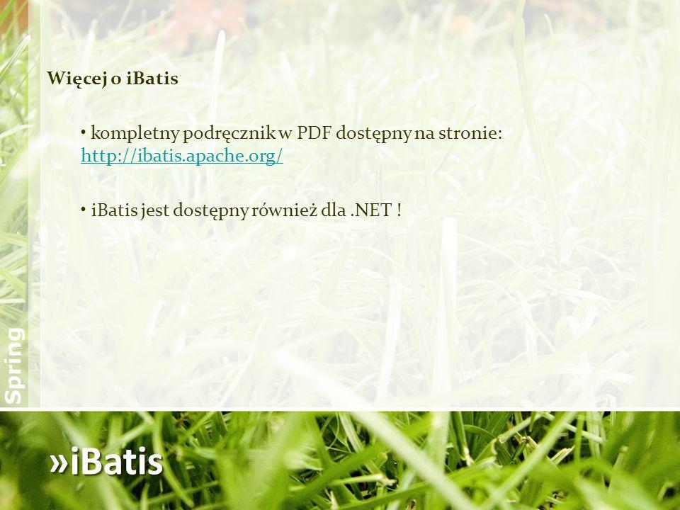»iBatis Więcej o iBatis kompletny podręcznik w PDF dostępny na stronie: http://ibatis.apache.org/ http://ibatis.apache.org/ iBatis jest dostępny równi