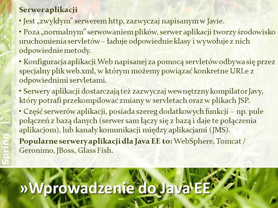»Wprowadzenie do Java EE Serwer aplikacji Jest zwykłym serwerem http, zazwyczaj napisanym w Javie. Poza normalnym serwowaniem plików, serwer aplikacji