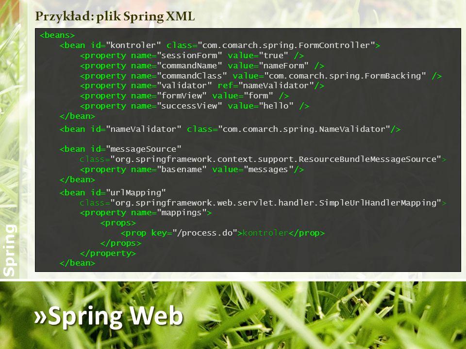 »Spring Web Przykład: plik Spring XML <bean id=