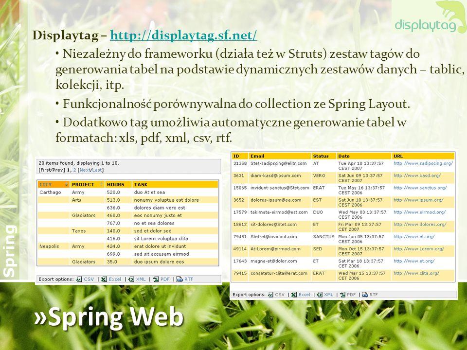 »Spring Web Displaytag – http://displaytag.sf.net/http://displaytag.sf.net/ Niezależny do frameworku (działa też w Struts) zestaw tagów do generowania