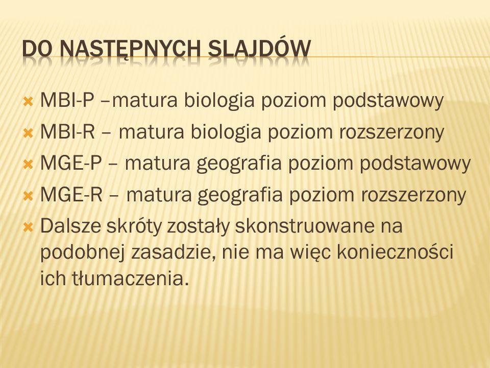 MBI-P –matura biologia poziom podstawowy MBI-R – matura biologia poziom rozszerzony MGE-P – matura geografia poziom podstawowy MGE-R – matura geografi