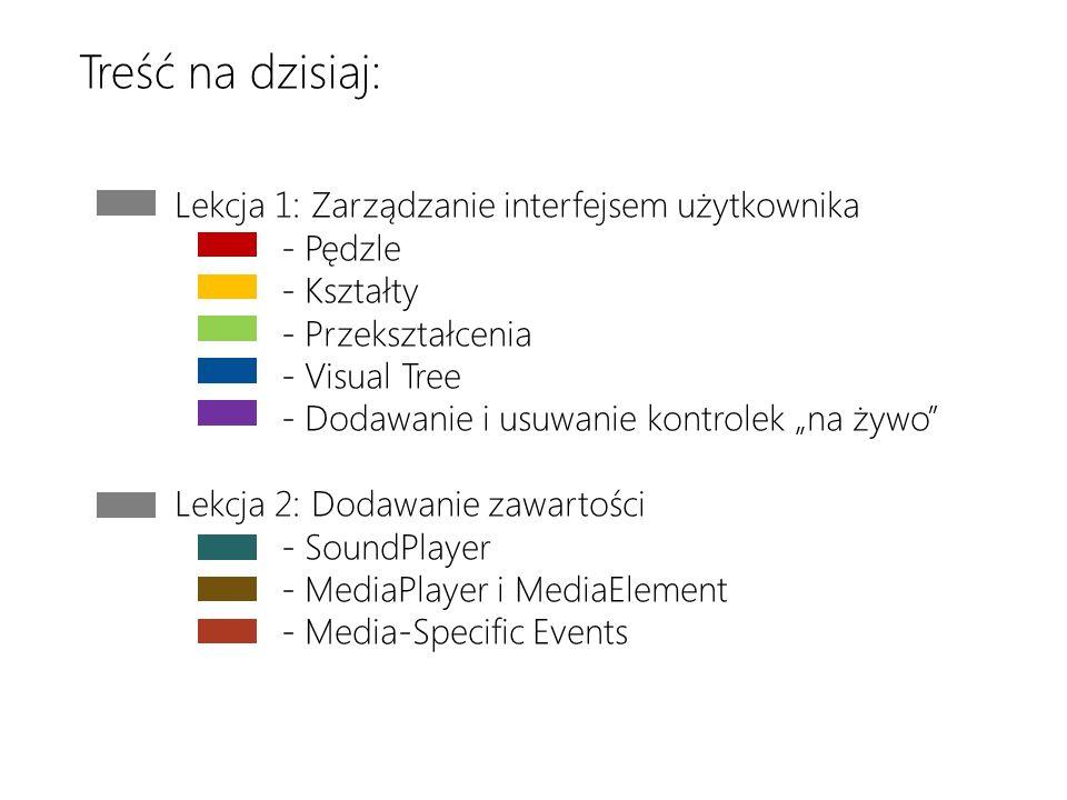 Download the latest version at http://toolbox/Win8ppthttp://toolbox/Win8ppt This message wont show up when youre presenting Lekcja 1: Zarządzanie interfejsem użytkownika - Pędzle - Kształty - Przekształcenia - Visual Tree - Dodawanie i usuwanie kontrolek na żywo Lekcja 2: Dodawanie zawartości - SoundPlayer - MediaPlayer i MediaElement - Media-Specific Events Treść na dzisiaj: