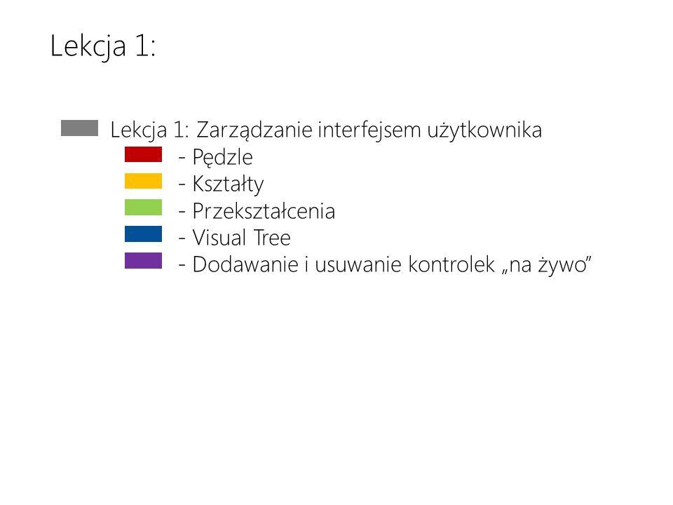 Download the latest version at http://toolbox/Win8ppthttp://toolbox/Win8ppt This message wont show up when youre presenting Lekcja 1: Zarządzanie interfejsem użytkownika - Pędzle - Kształty - Przekształcenia - Visual Tree - Dodawanie i usuwanie kontrolek na żywo Lekcja 1: