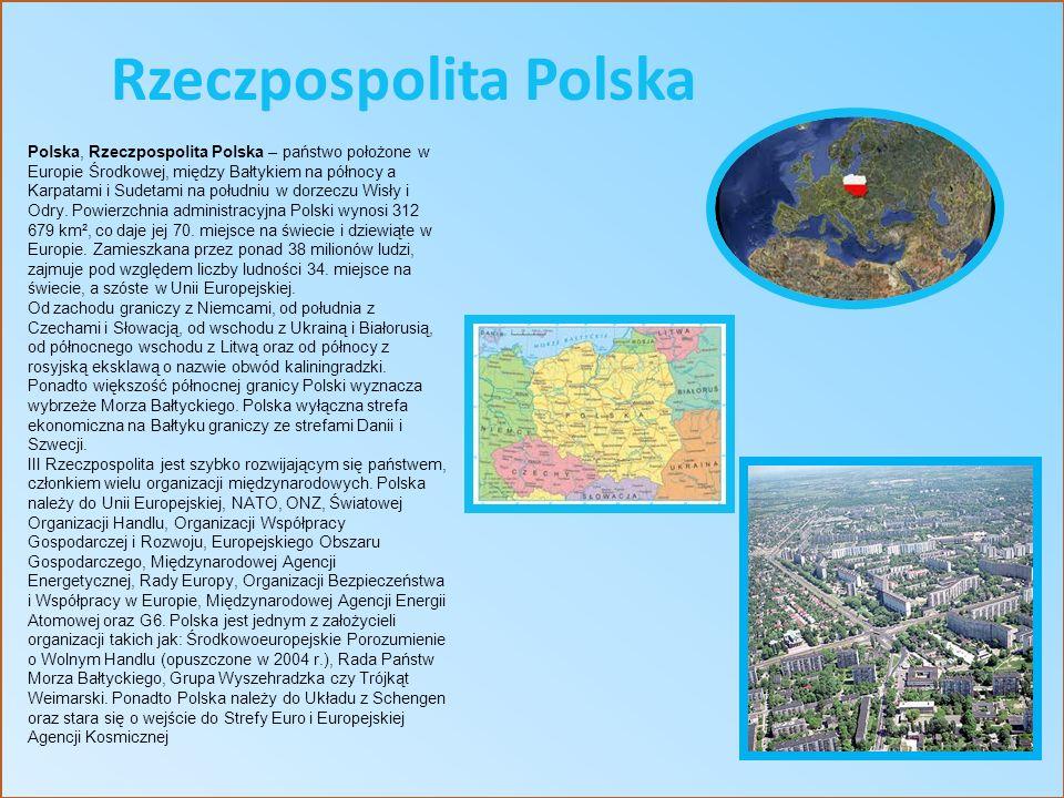 Polska, Rzeczpospolita Polska – państwo położone w Europie Środkowej, między Bałtykiem na północy a Karpatami i Sudetami na południu w dorzeczu Wisły