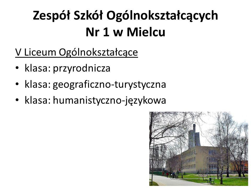 Zespół Szkół Ogólnokształcących Nr 1 w Mielcu V Liceum Ogólnokształcące klasa: przyrodnicza klasa: geograficzno-turystyczna klasa: humanistyczno-język