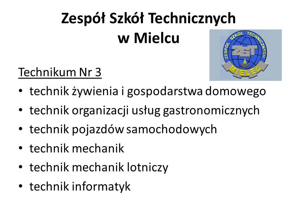 Zespół Szkół Technicznych w Mielcu Technikum Nr 3 technik żywienia i gospodarstwa domowego technik organizacji usług gastronomicznych technik pojazdów