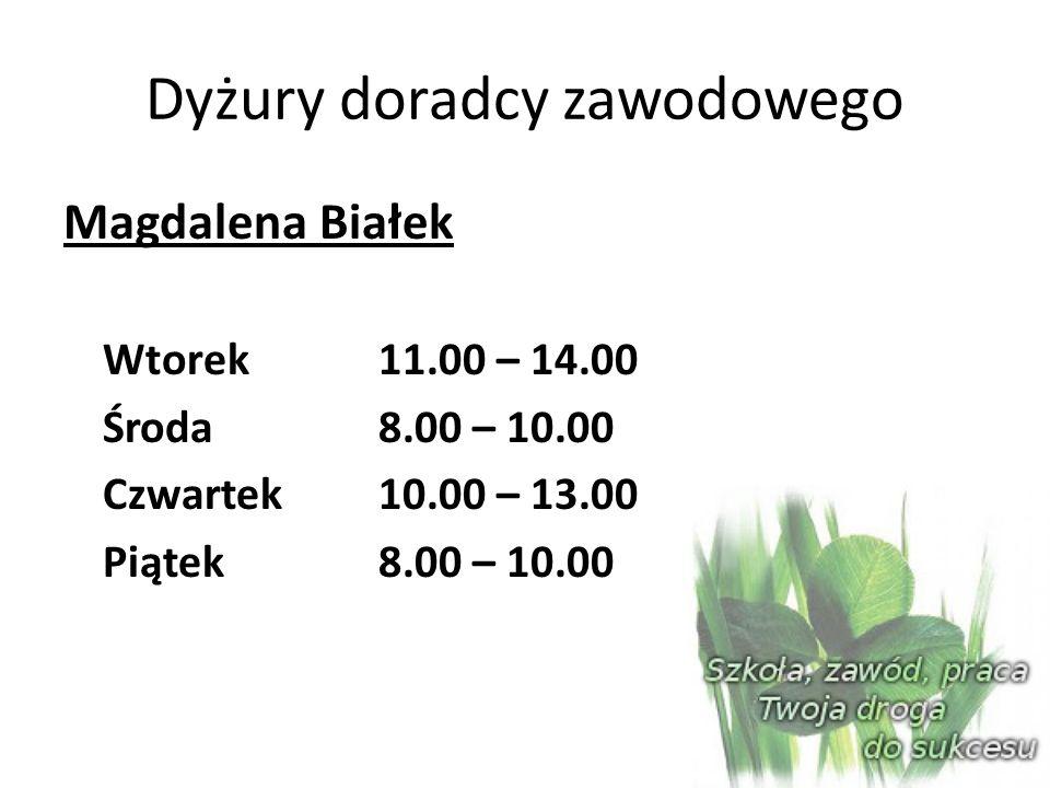 Dyżury doradcy zawodowego Magdalena Białek Wtorek 11.00 – 14.00 Środa 8.00 – 10.00 Czwartek 10.00 – 13.00 Piątek 8.00 – 10.00