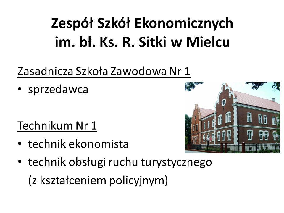 Zespół Szkół Ekonomicznych im. bł. Ks. R. Sitki w Mielcu Zasadnicza Szkoła Zawodowa Nr 1 sprzedawca Technikum Nr 1 technik ekonomista technik obsługi