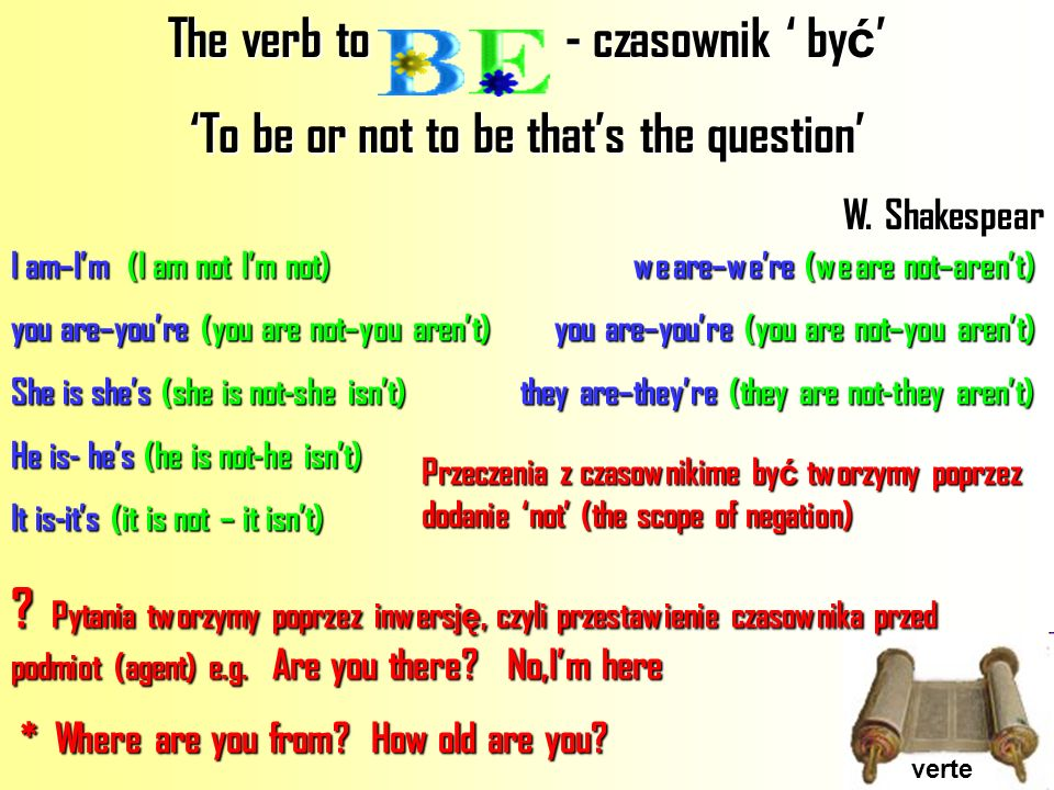 verte The verb to - czasownik by ć The verb to - czasownik by ć To be or not to be thats the question W. Shakespear I am–Im(I am not Im not) we are–we