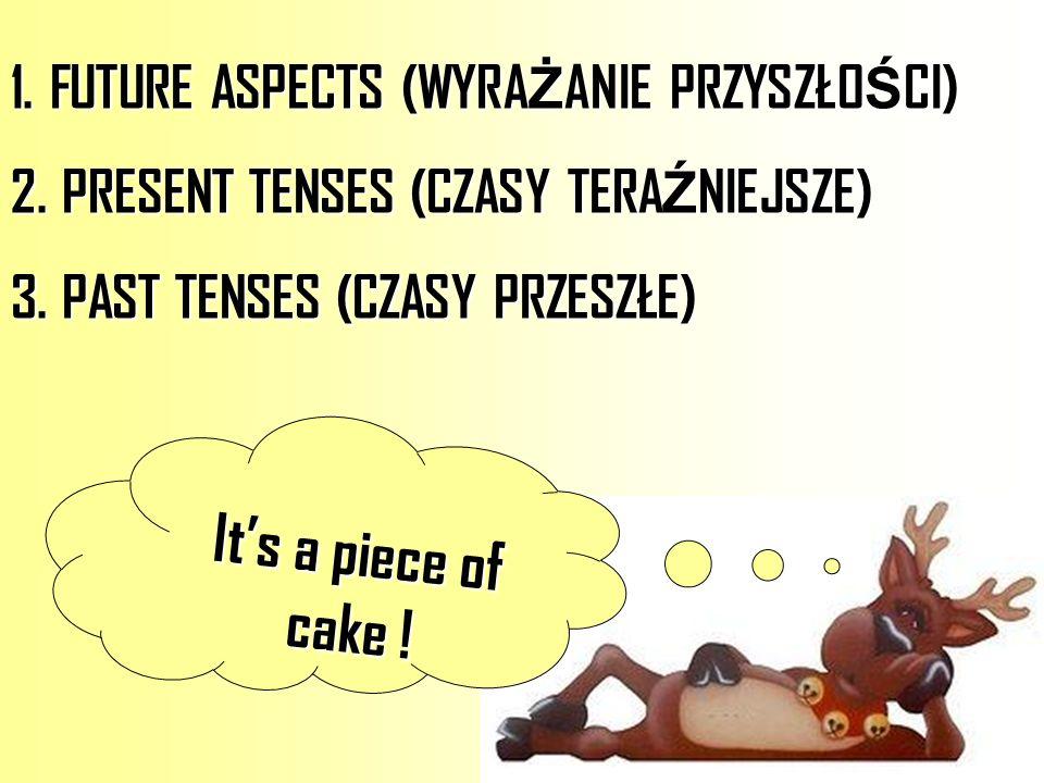 1.FUTURE ASPECTS (WYRA Ż ANIE PRZYSZŁO Ś CI) 2. PRESENT TENSES (CZASY TERA Ź NIEJSZE) 3. PAST TENSES (CZASY PRZESZŁE) Its a piece of cake !