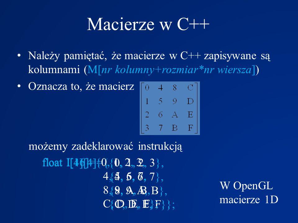 Macierze w C++ Należy pamiętać, że macierze w C++ zapisywane są kolumnami (M[nr kolumny+rozmiar*nr wiersza]) Oznacza to, że macierz możemy zadeklarowa