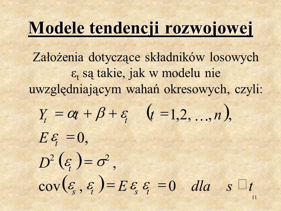 10 Objaśnienia do wzoru X ti (i=1,...,4) są zmiennymi zero-jedynkowymi reprezentującymi poszczególne podokresy cyklu: POWRÓT DO WZORU POWRÓT DO WZORU 0 1 ti X dla obserwacji dotyczących i-tego kwartału dla obserwacji dotyczących pozostałych kwartałów Parametry γ i (i=1,...,4) stojące przy zmiennych zero-jedynkowych charakteryzują absolutną wielkość wahań okresowych w poszczególnych okresach