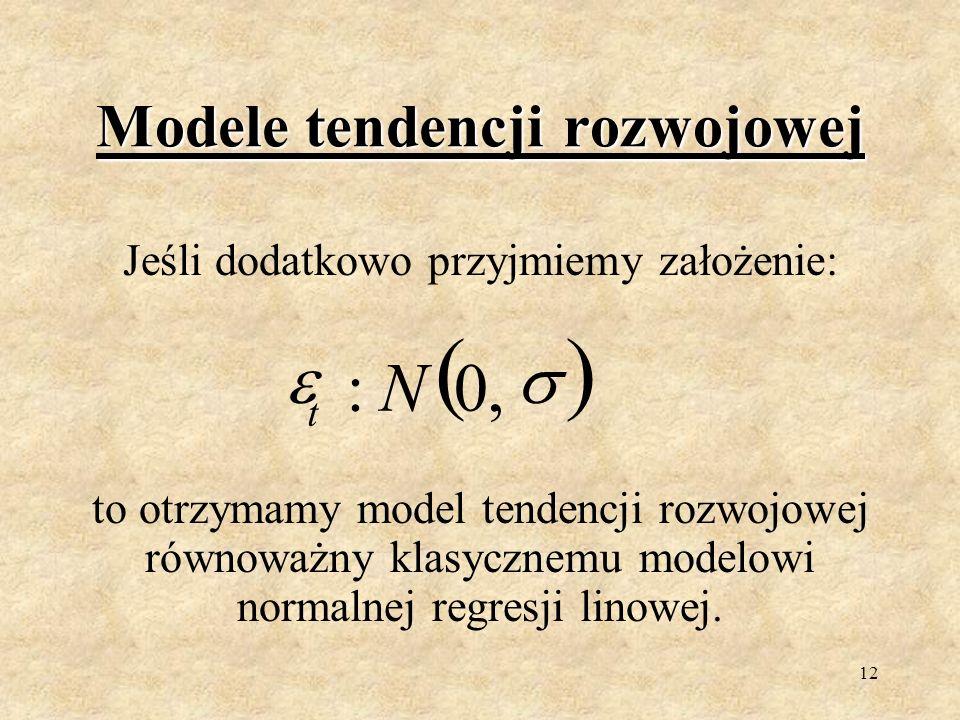 11 Modele tendencji rozwojowej Założenia dotyczące składników losowych ε t są takie, jak w modelu nie uwzględniającym wahań okresowych, czyli: tsdla D E t t Y t 0,,0 22 s E t, ts cov t t,2 nt,,,1