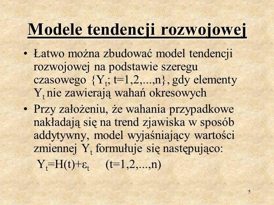 4 Definicja modeli tendencji rozwojowej Modele tendencji rozwojowej są bardziej zaawansowaną metodą analizy szeregów czasowych; Służą do prognozowania przyszłych wartości w szeregu czasowym; Wyjaśniają kształtowanie się badanego zjawiska w czasie; Są w istocie modelami regresji, w których występuje zmienna czasowa t.
