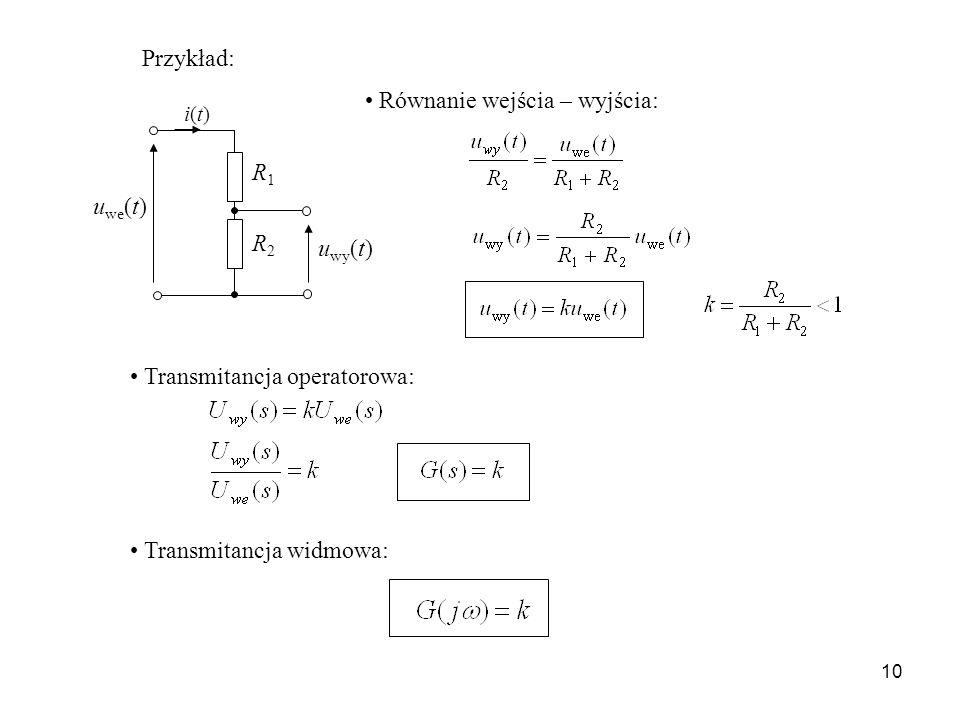 10 Przykład: u we (t) u wy (t) R1R1 R2R2 i(t)i(t) Równanie wejścia – wyjścia: Transmitancja operatorowa: Transmitancja widmowa: