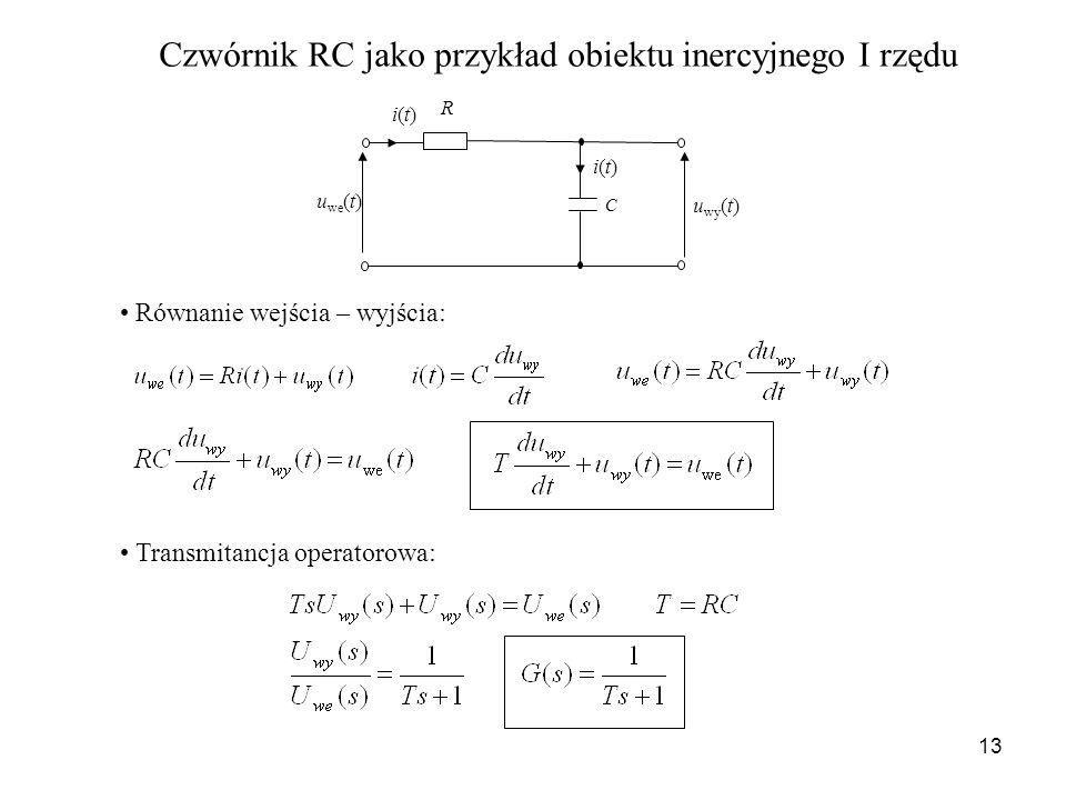 13 C u we (t) u wy (t) i(t)i(t) i(t)i(t) R Czwórnik RC jako przykład obiektu inercyjnego I rzędu Równanie wejścia – wyjścia: Transmitancja operatorowa