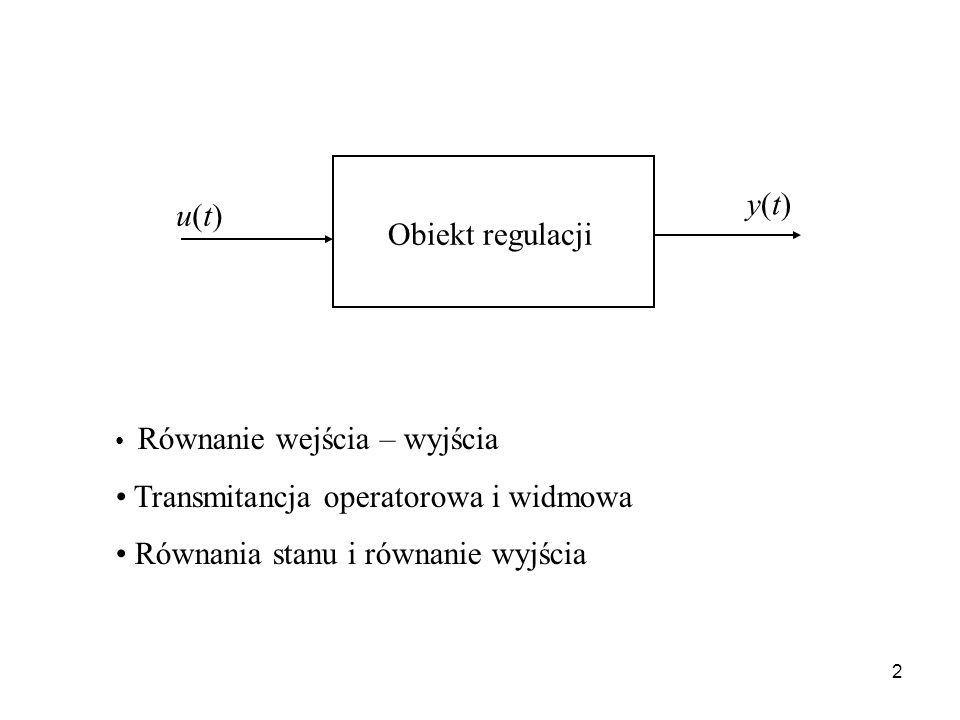 2 Równanie wejścia – wyjścia Transmitancja operatorowa i widmowa Równania stanu i równanie wyjścia u(t)u(t) y(t)y(t) Obiekt regulacji