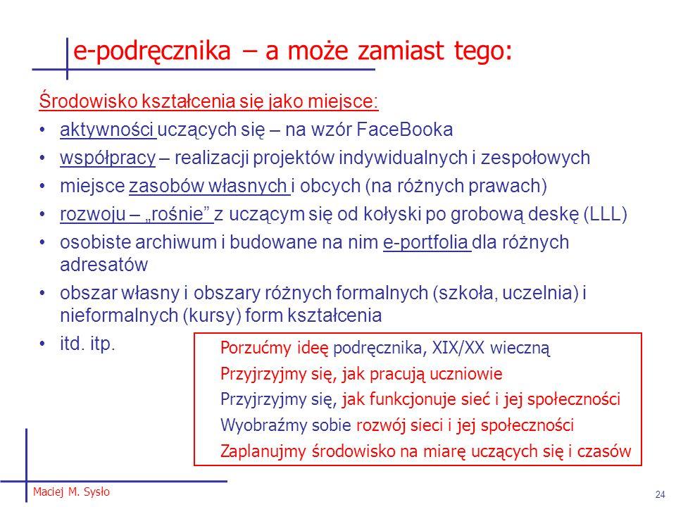 Maciej M. Sysło 24 Środowisko kształcenia się jako miejsce: aktywności uczących się – na wzór FaceBooka współpracy – realizacji projektów indywidualny