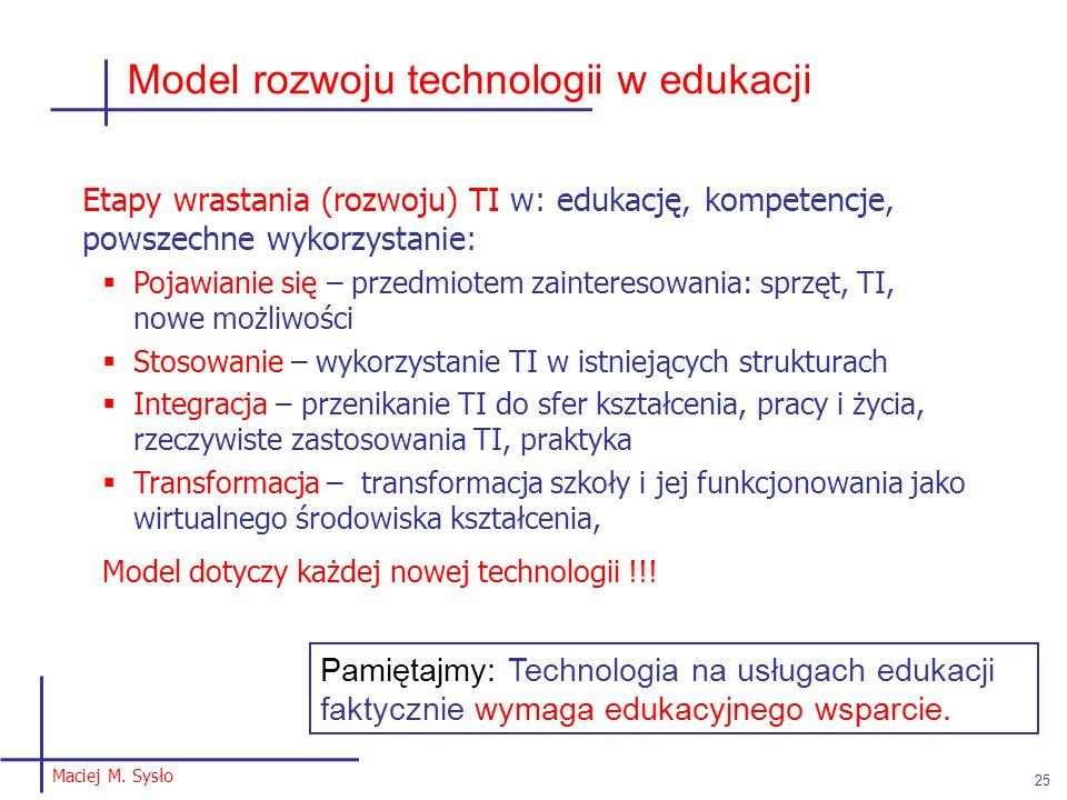Model rozwoju technologii w edukacji Maciej M. Sysło 25 Etapy wrastania (rozwoju) TI w: edukację, kompetencje, powszechne wykorzystanie: Pojawianie si