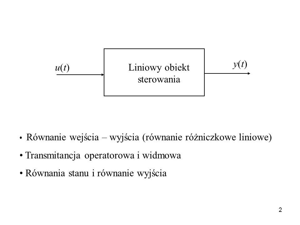2 Równanie wejścia – wyjścia (równanie różniczkowe liniowe) Transmitancja operatorowa i widmowa Równania stanu i równanie wyjścia u(t)u(t) y(t)y(t) Li