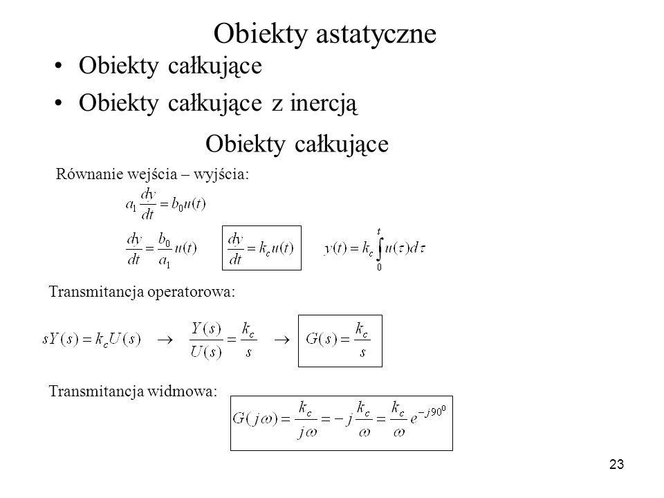 23 Obiekty astatyczne Obiekty całkujące Obiekty całkujące z inercją Obiekty całkujące Równanie wejścia – wyjścia: Transmitancja operatorowa: Transmita