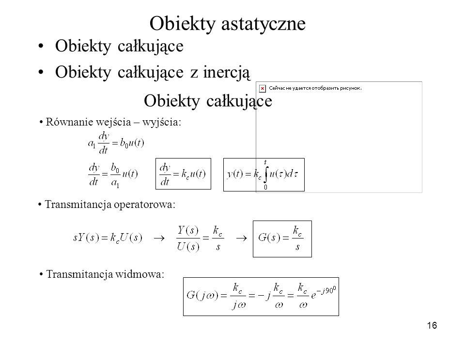 16 Obiekty astatyczne Obiekty całkujące Obiekty całkujące z inercją Obiekty całkujące Równanie wejścia – wyjścia: Transmitancja operatorowa: Transmita