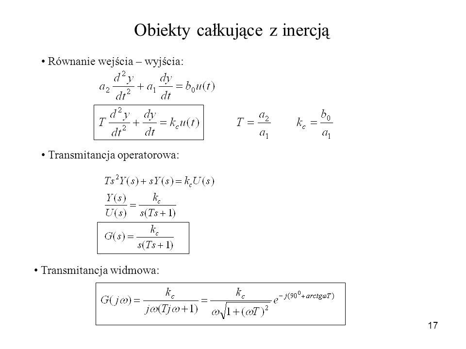 17 Obiekty całkujące z inercją Równanie wejścia – wyjścia: Transmitancja operatorowa: Transmitancja widmowa:
