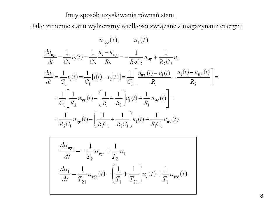 9 Obiekt dwuinercyjny u we (t) u wy (t) i1(t)i1(t) R1R1 C1C1 i1(t)i1(t)i2(t)i2(t) C2C2 R2R2 i 2 (t) Wzmacniacz separujący Równanie wejścia – wyjścia: Transmitancja operatorowa: Przykład.