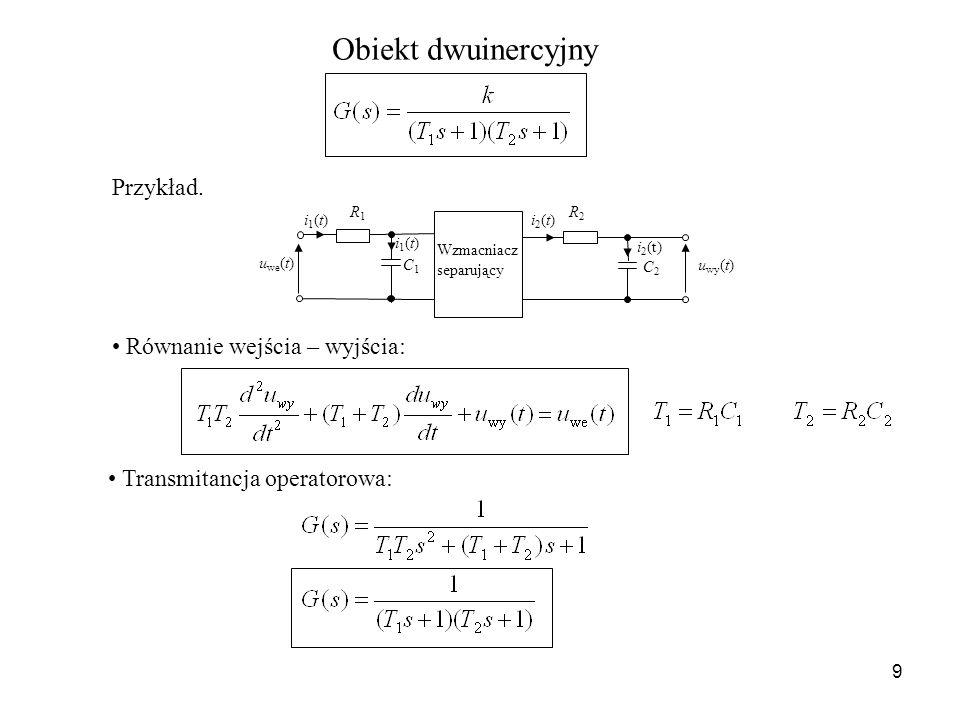 9 Obiekt dwuinercyjny u we (t) u wy (t) i1(t)i1(t) R1R1 C1C1 i1(t)i1(t)i2(t)i2(t) C2C2 R2R2 i 2 (t) Wzmacniacz separujący Równanie wejścia – wyjścia: