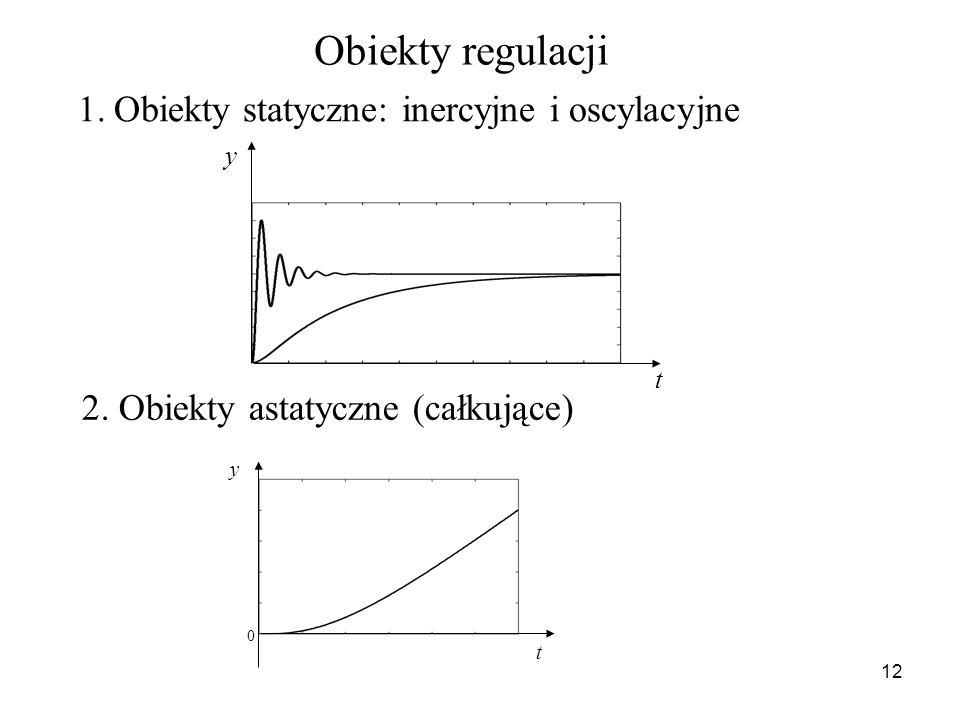 12 Obiekty regulacji 1.Obiekty statyczne: inercyjne i oscylacyjne y t 2. Obiekty astatyczne (całkujące) y t 0