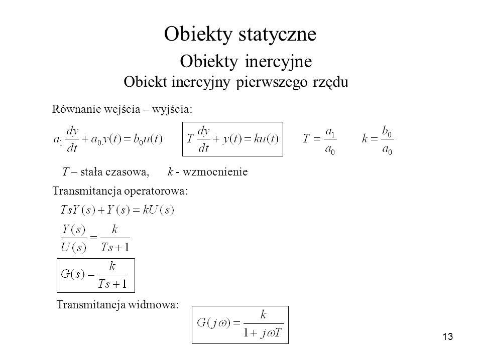 13 Obiekty inercyjne Obiekt inercyjny pierwszego rzędu Równanie wejścia – wyjścia: T – stała czasowa, k - wzmocnienie Transmitancja operatorowa: Trans