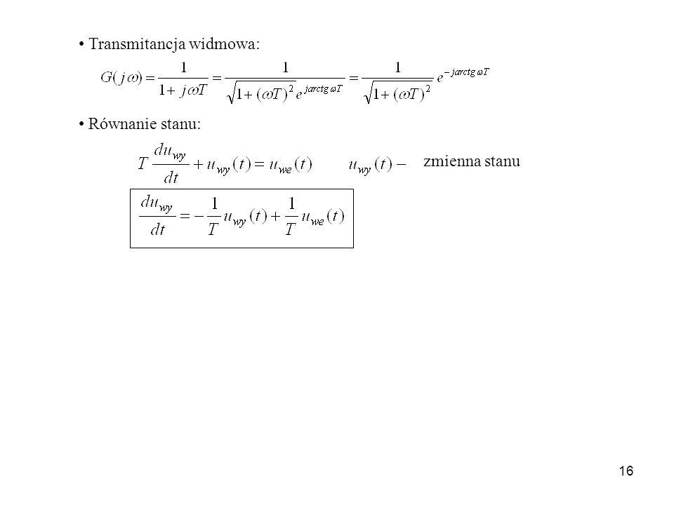 16 Transmitancja widmowa: Równanie stanu: zmienna stanu