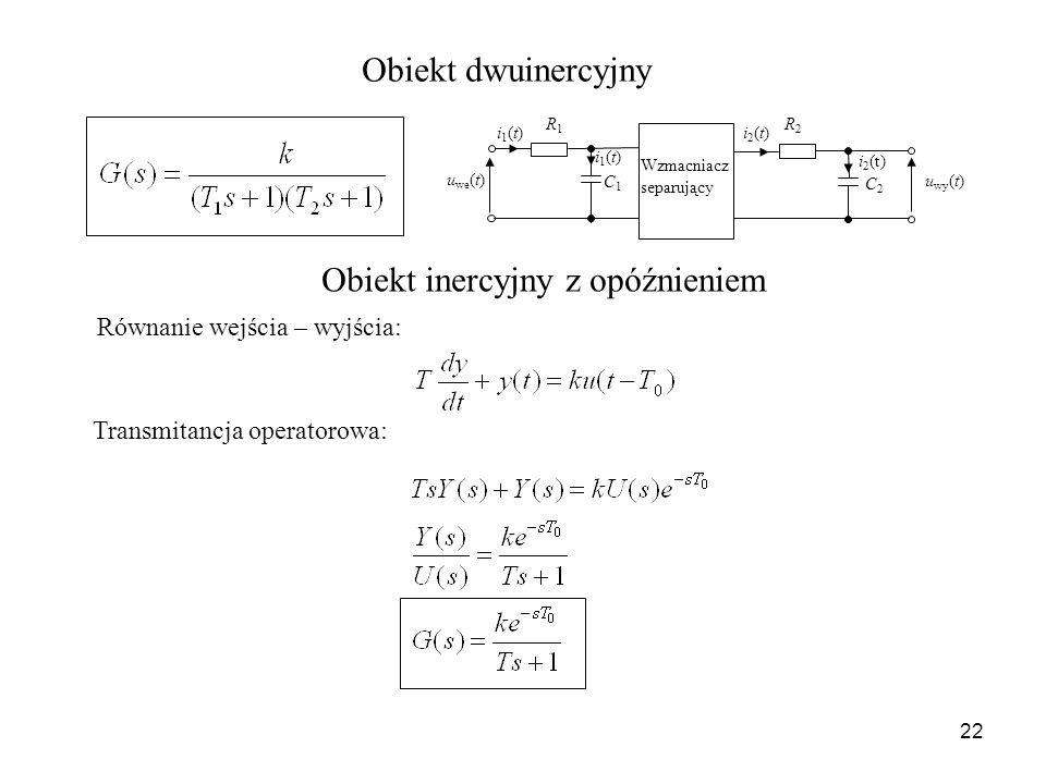 22 Obiekt dwuinercyjny Obiekt inercyjny z opóźnieniem Równanie wejścia – wyjścia: Transmitancja operatorowa: u we (t) u wy (t) i1(t)i1(t) R1R1 C1C1 i1