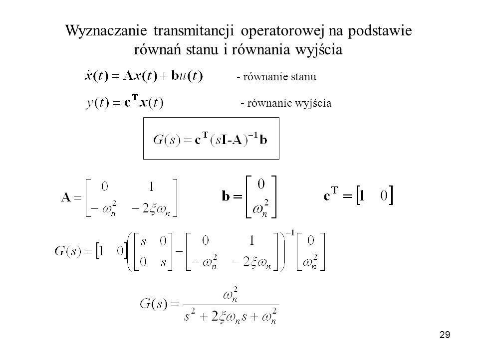 29 - równanie stanu - równanie wyjścia Wyznaczanie transmitancji operatorowej na podstawie równań stanu i równania wyjścia